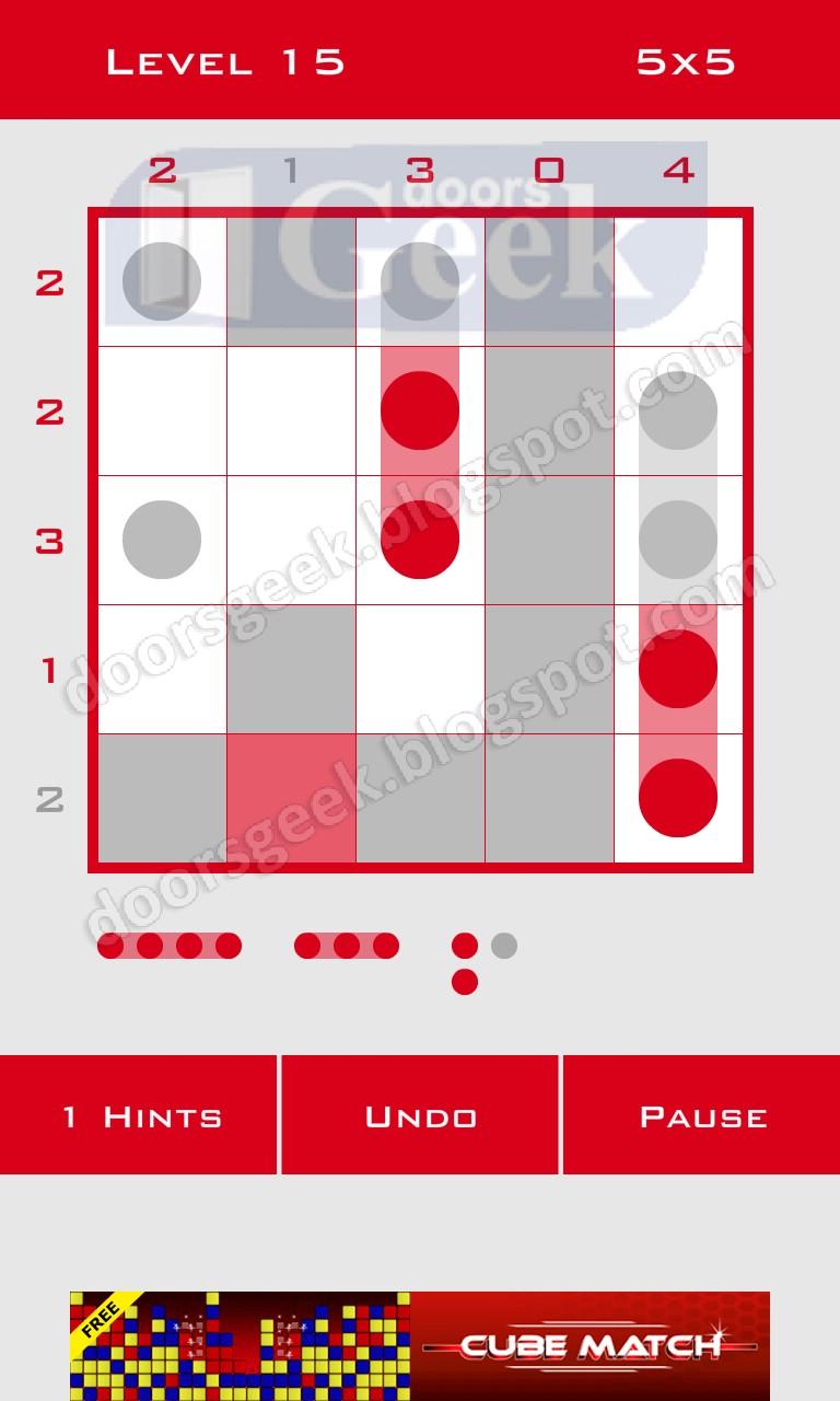 Logic dots 5x5 level 15 solution doors geek for Solution wordbrain cuisine