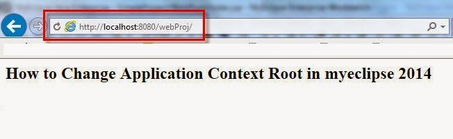 How to change context path in myeclipse 2014