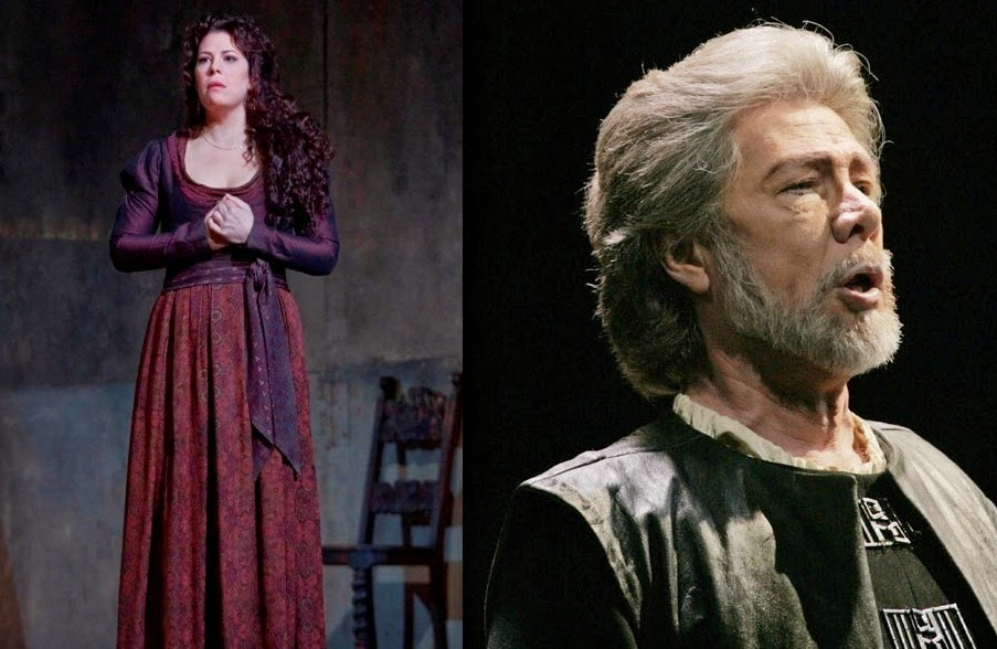 American soprano Sondra Radvanovsky as Leonora in Verdi's IL TROVATORE in 2009 (left) and American bass Samuel Ramey as Giovanni da Procida in Verdi's I VESPRI SICILIANI in 2004 (right) [Photos by Ken Howard, © by The Metropolitan Opera]
