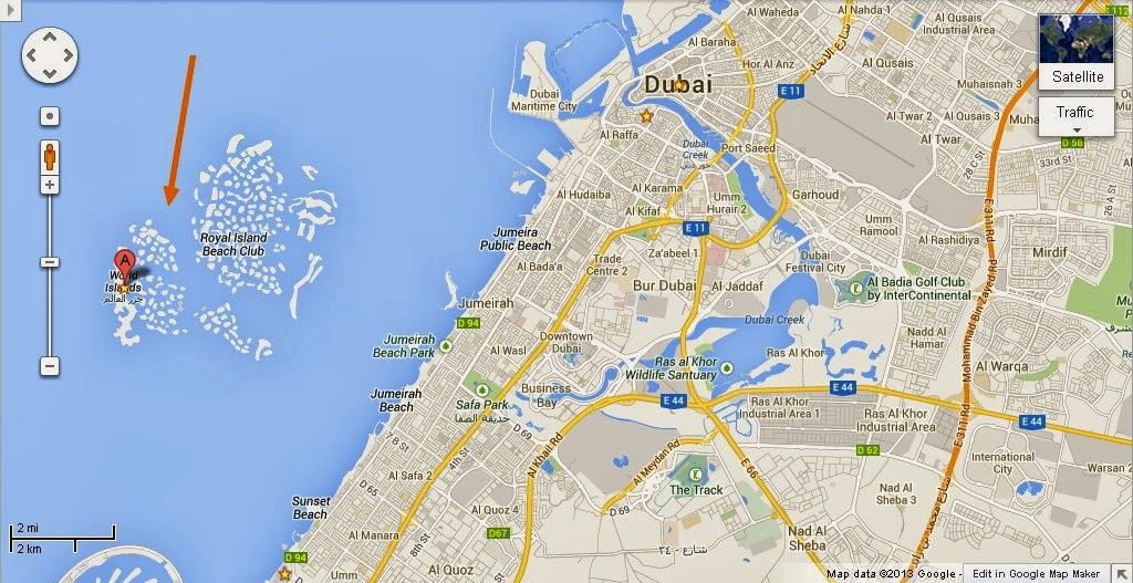 Dubai map world islands detail the world islands dubai location map gumiabroncs Gallery