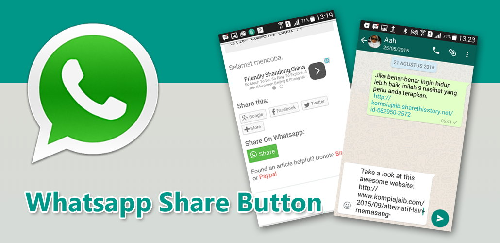 Memasang Whatsapp Sharing Button Di Blog