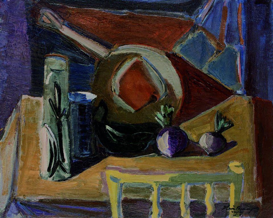 Iberê Camargo. 'Composição com Objetos'. Óleo sobre tela, 1956. 64,5 x 81 cm.