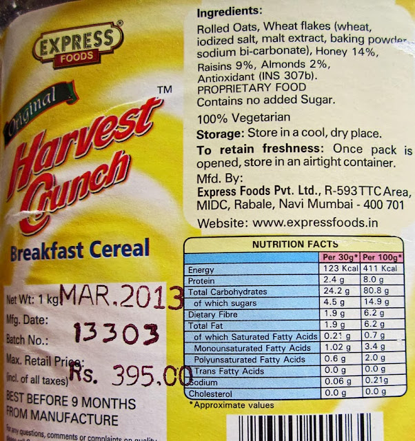 nutrition label for muesli with nuts