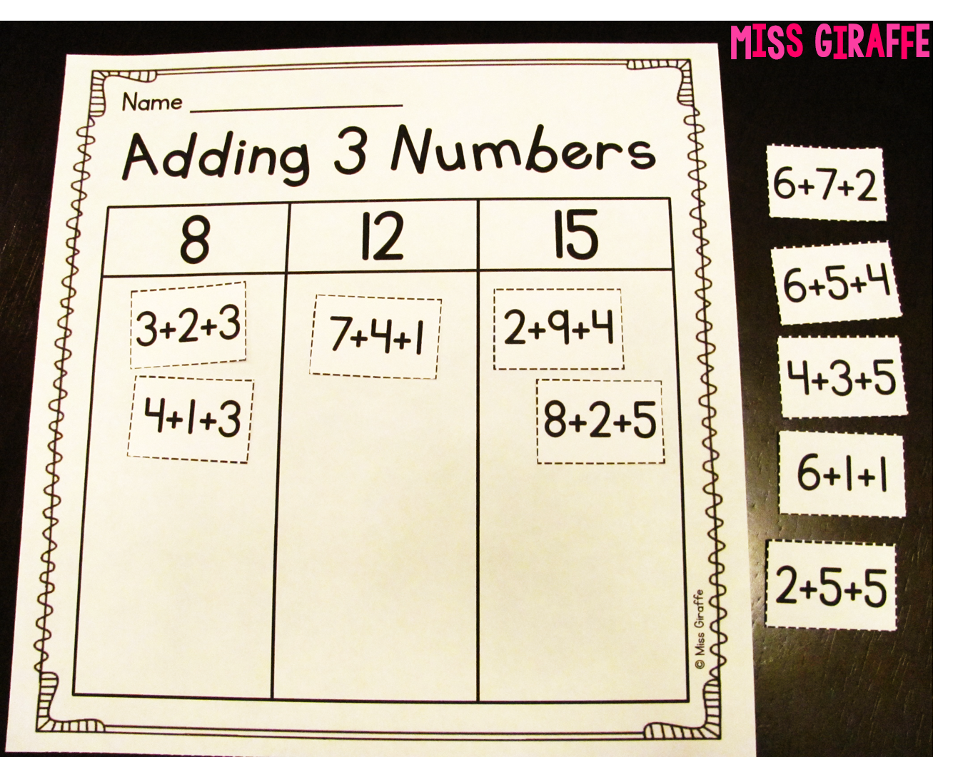 worksheet Adding Three Numbers Worksheet miss giraffes class adding 3 numbers first grade worksheets and activities to make addends hands on easy