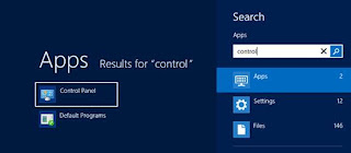 Search for Control Panel in Windows 8