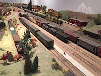 A daylight scene at the St. Jacobs & Aberfoyle Model Railway