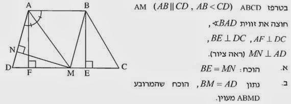 בעיה פתורה בגיאומטריה - מעוין חסום בטרפז