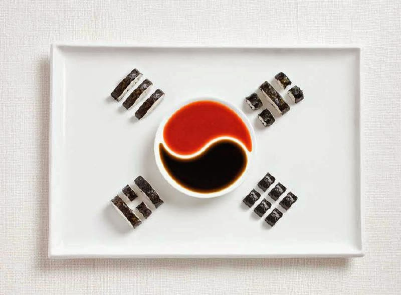 18 National Flags Made From Food - South Korea