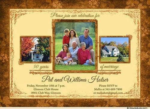 convite de 50 anos de casado com foto