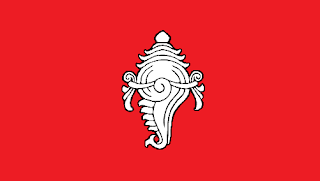 A sacred shankha on the flag of Travancore, India