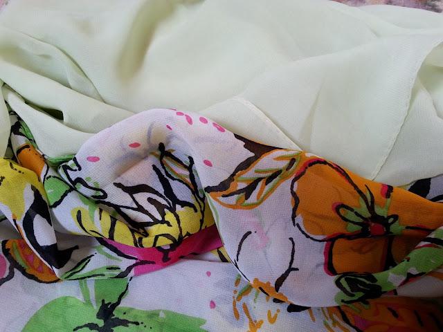 shawl chiffon 2 layer printed kuning cair