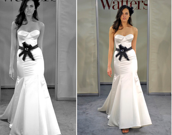 Black N White Wedding Dresses : This modern satin sculpted mermaid gown is wrapped with a black jewel