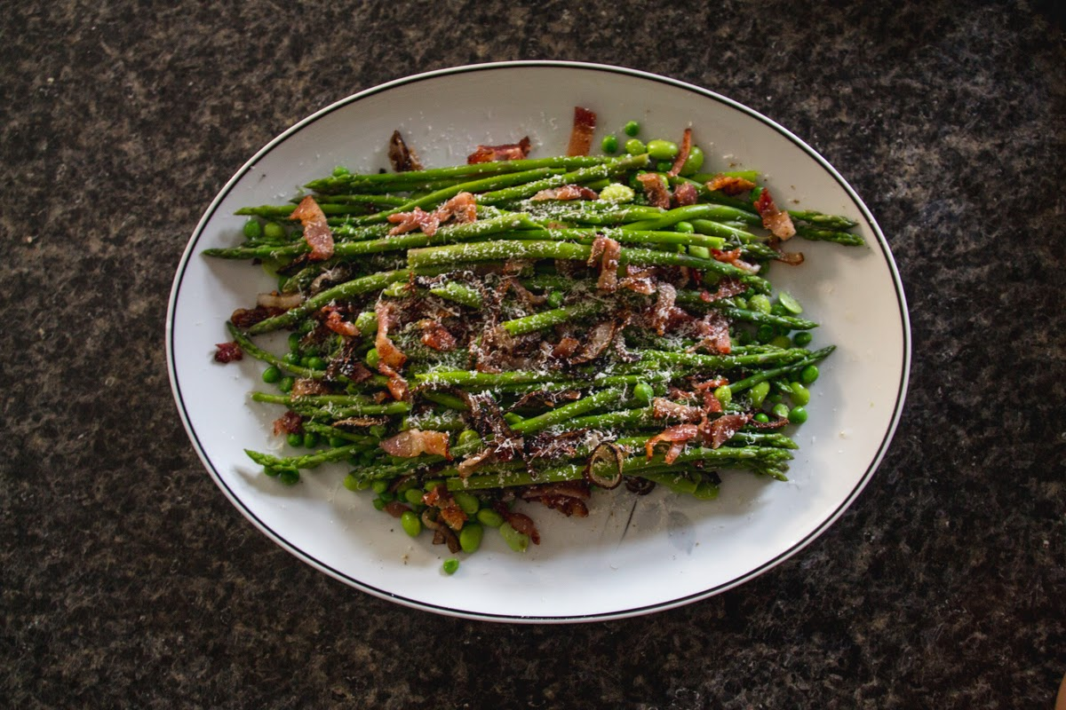 asparagus bean bacon salad