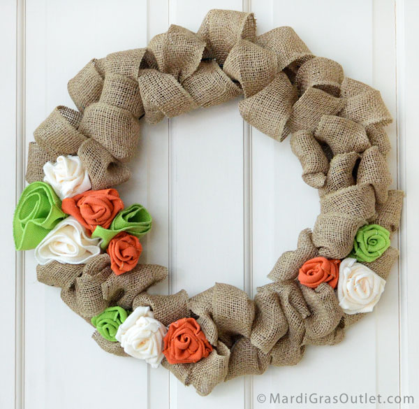 Natural  Burlap Wreath with burlap rose accents  | MardiGrasOutlet.com