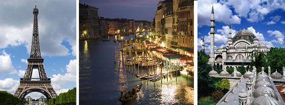 Paris, Venice and Istanbul