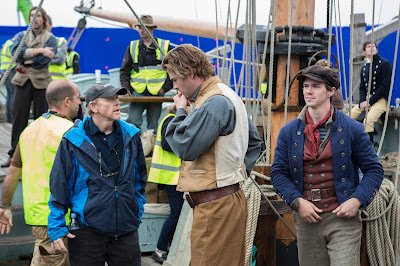 Chris Hemsworth and director Ron Howard on the set of In The Heart of the Sea