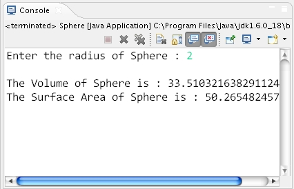How to calculate volume and surface area of sphere in java sphere ccuart Choice Image