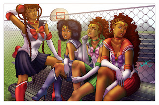 African american women woman sailor scouts sailor moon super heroes