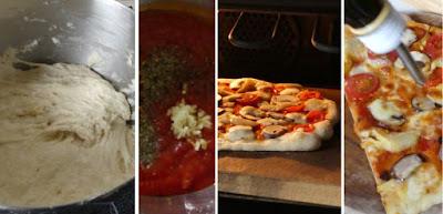 Zubereitung Artisan Pizzateig, Pizza pomodoro, funghi e mozzarella mit Artisan Pizzateig
