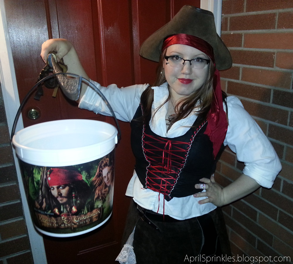 Last minute thrifted pirate costume on April Sprinkles