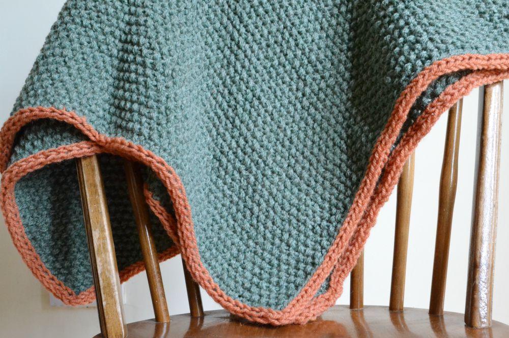moss stitch blanket baby edging green orange