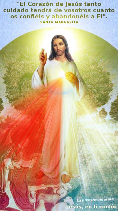 imagen de jesus divina misericordia con mensaje de santa margarita