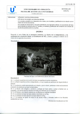 Examen de selectividad Historia de España de junio de 2015 (Andalucía) Opción A