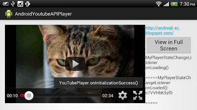Example to use YouTubePlayerFragment of YouTube Android Player API