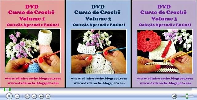 dvd em croche curso 3 volumes de flores em aprender croche com edinir-croche com frete gratis na loja curso de croche