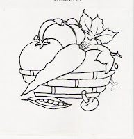 desenho de cesta de legumes para pintar