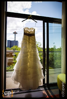 Wedding dress with Seattle Space Needle in background