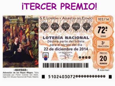 Detalle del tercer premio del sorteo de navidad de la lotería nacional.