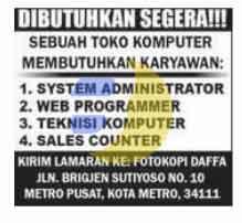 Lowongan Kerja Toko Komputer Metro