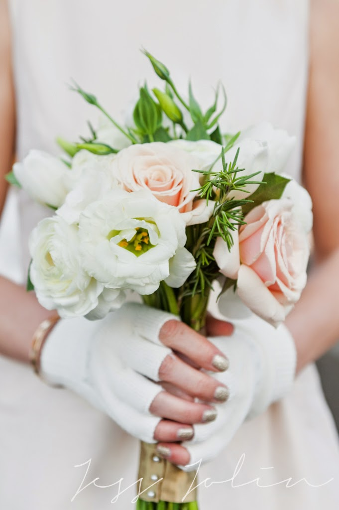 les fleurs : white, champagne, gold & emerald : winter wedding : peplum bridesmaid dresses : jess jolin photography : willow dale estate : rosemary, lisianthus, tulip, ranunculus, rose
