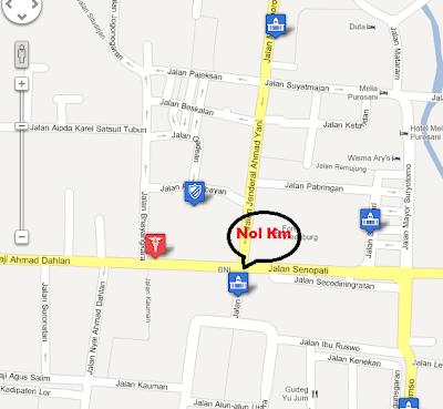 Peta Malioboro nol kilometer Yogyakarta