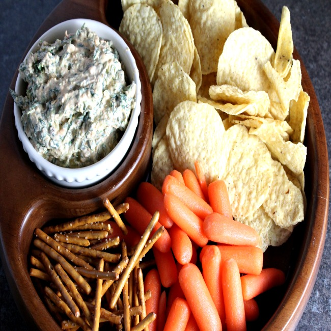 Guilt(less) Spinach Dip with Sundried Tomato Pesto and Greek Yogurt