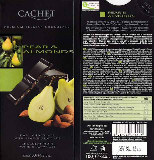 tablette de chocolat noir gourmand cachet noir poire & amandes
