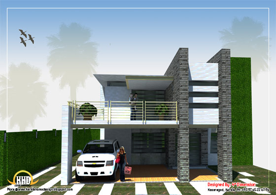 Modern Home Design - 3120 Sq. Ft. (290 Sq. M.)(347 Square Yards) - March 2012