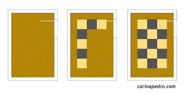 Carina Pedro - 2D de paginação de piso com assentamentos em formato escama e reto.