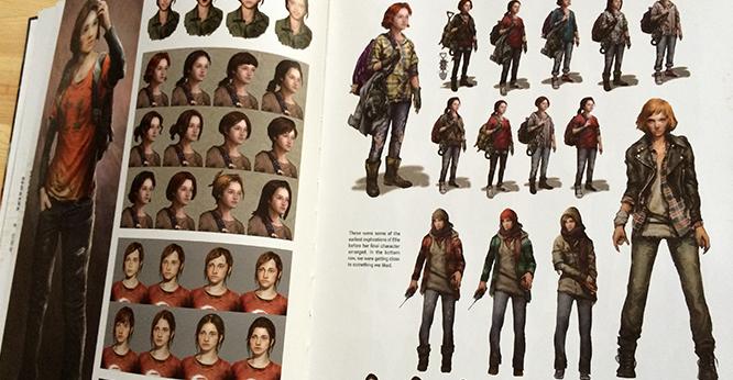 Na imagem: foto de duas páginas do livro. É basicamente o que eu descrevi em cima. Mostra várias versões da mesma personagem.