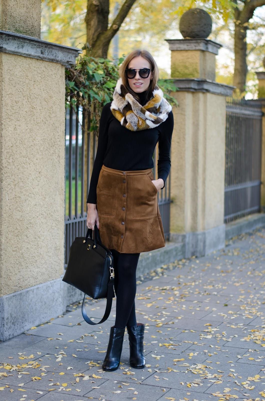 kristjaana mere suede skirt black turtleneck fur scarf fall fashion