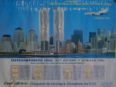 publicidad polémica de las torres gemelas y la osteoartritis