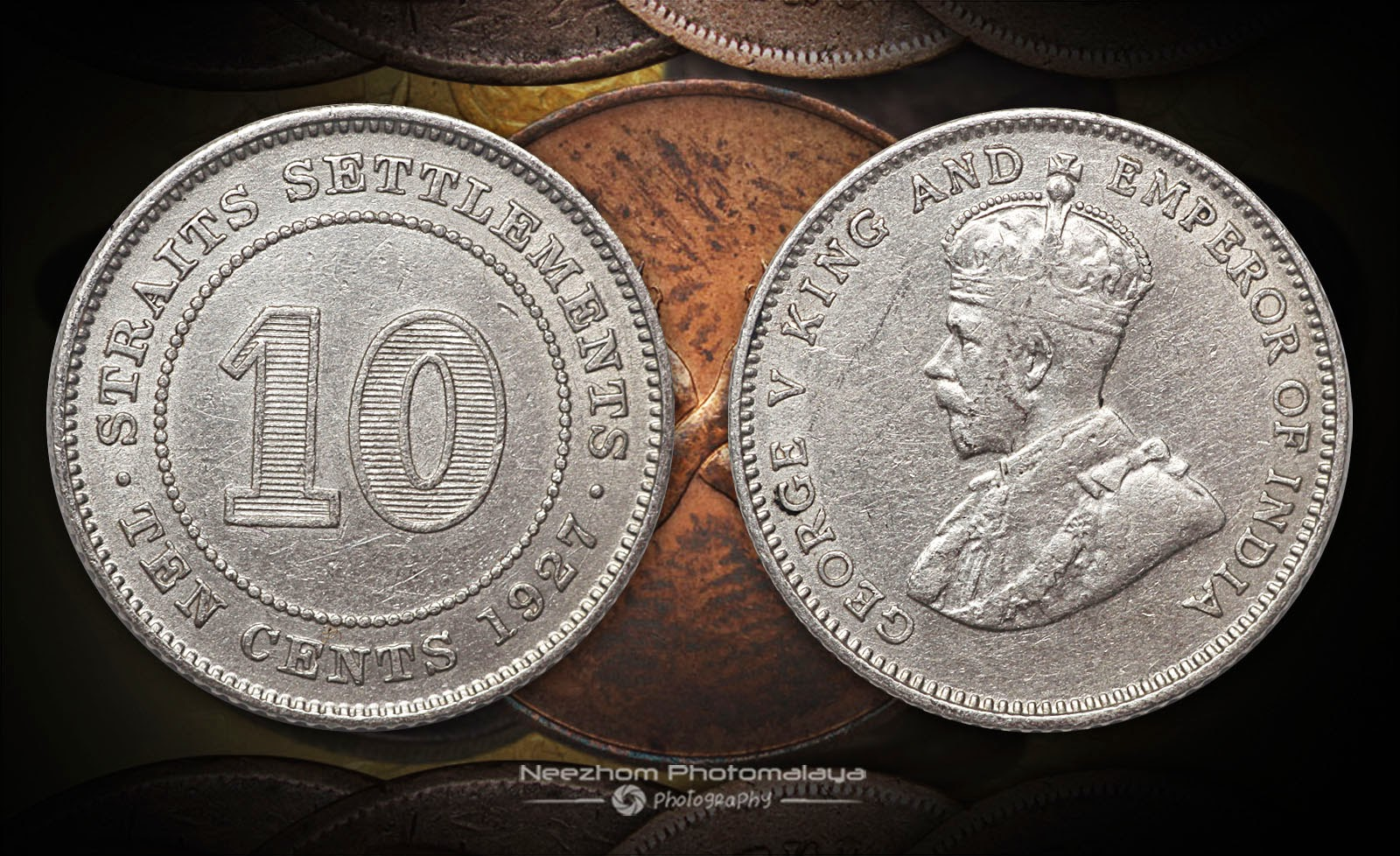 Straits Settlements 10 Cents 1927 silver coin