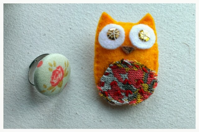 Miss Chaela Boo - Cherry Hinton Craft Party - fabric covered ring by Claireabellemakes and owl brooch by The Owl Club