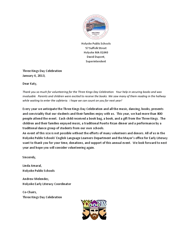 thank you letter received by our family literacy coordinator katy