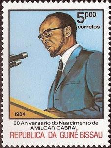 60 Aniversario del nacimiento de Amílcar Cabral, sello de Cabral hablando en público, Guinea Bissau, 1984