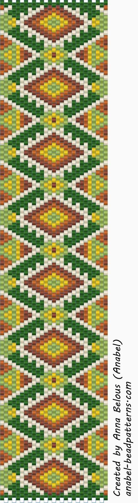 Схема браслета - мозаичное