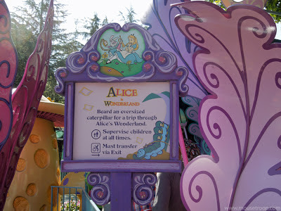 Alice Wonderland Disneyland dark ride sign signage leaves
