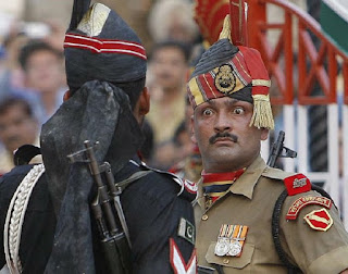 Indian soldier at the Wagah border.