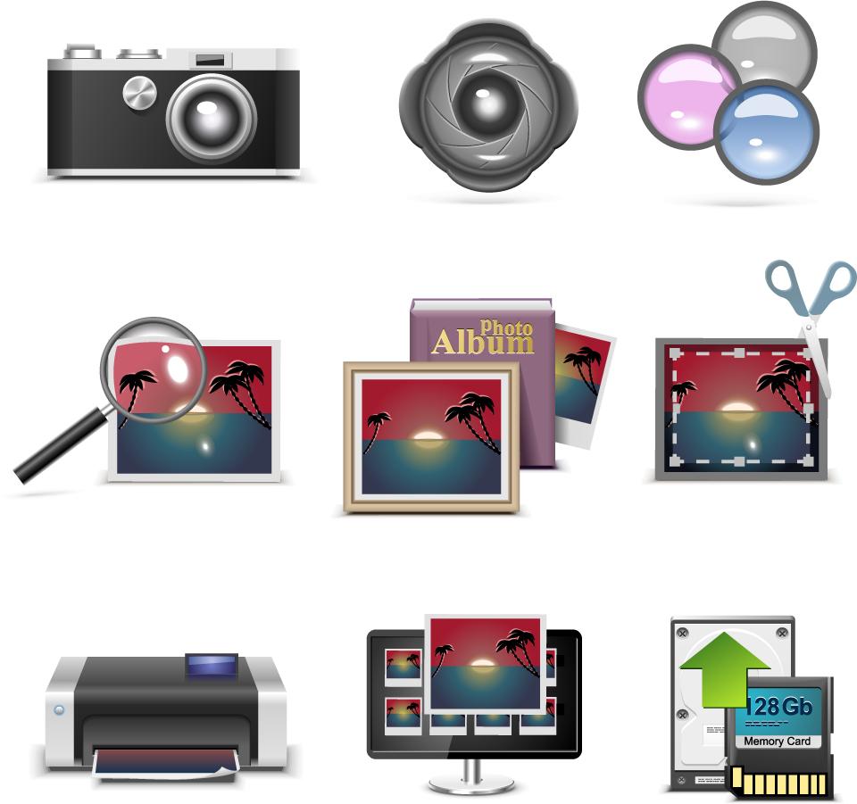 カメラ周りの日用品 Commodities around the camera イラスト素材